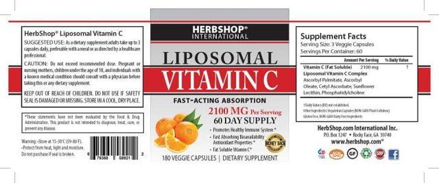 Immune System Booster - Liposomal Vitamin C Label