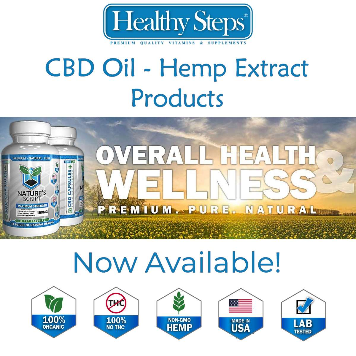 By Popular Demand Healthy Steps Now Offers Hemp Extract – CBD Oil Products